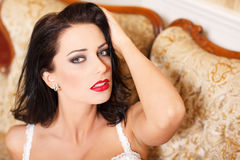 Sexy woman with red lips portrait Stock Photo