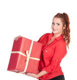 Sexy woman in red shirt and black shorts posing with gift box Stock Photography