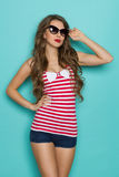 Sexy Woman In Red Striped Shirt Royalty Free Stock Photo