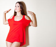 A sexy woman in red T-shirt Royalty Free Stock Photo
