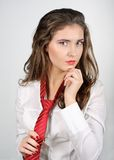 Woman with Red Tie Stock Photo