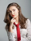 Woman with Red Tie Royalty Free Stock Photo