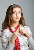 Sexy Woman with Red Tie Stock Images