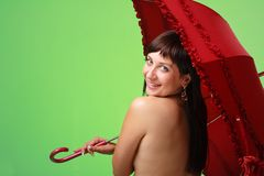 Sexy woman with red umbrella Stock Image