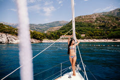 woman relax on yacht in sea stock photos