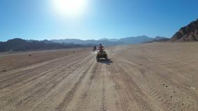 Sexy Woman is Riding a Quad Bike in the Desert of Egypt. Dynamic view in motion. stock video footage