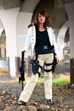 woman with rifle Royalty Free Stock Photography