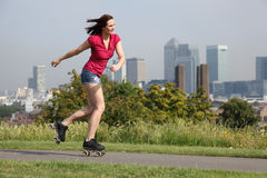 woman roller skating activity in London UK Royalty Free Stock Image