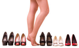 Sexy woman's legs with fashion shoes Stock Photo