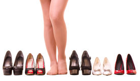 Sexy woman\'s legs with fashion shoes Stock Photos