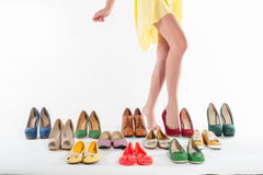 Sexy woman's legs with shoes collections Royalty Free Stock Photography