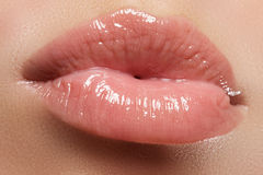 Sexy woman's lips. Beauty lips make-up. Beautiful make-up. Sensual open mouth. Lipstick and lip gloss. Natural full lips.  Stock Images