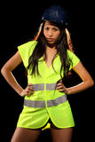 woman with safety jacket and helmet Royalty Free Stock Images