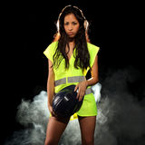 Sexy woman with safety jacket or vest and helmet Royalty Free Stock Image