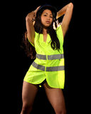 Sexy woman with safety jacket or vest and helmet Royalty Free Stock Photo