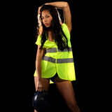 woman with safety jacket or vest and helmet Stock Photo