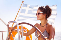 Sexy woman on sailboat Royalty Free Stock Photography