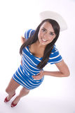 woman in sailor uniform standing alone Royalty Free Stock Photos