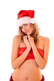 Sexy woman in Santa Claus hat Stock Photos