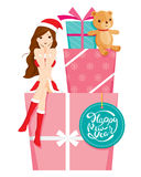 Sexy Woman In Santa Costume Sitting On Big Gift Box Royalty Free Stock Images