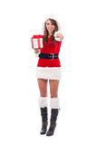 Sexy Woman with Santa Hat. And Christmas Gifts Royalty Free Stock Photos