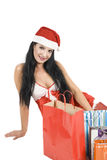 Sexy woman in Santa hat Royalty Free Stock Images