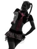 Sexy woman in schoolgirl costume portrait  silhouette Stock Photos