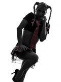 Sexy woman in schoolgirl costume portrait  silhouette Royalty Free Stock Photo