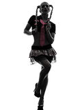 Sexy woman in schoolgirl costume portrait  silhouette Royalty Free Stock Photos