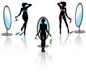 Sexy woman set. Sexy woman before a mirror with bikini in different poses Royalty Free Stock Image