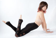 Sexy Woman in Shiny Leggings Royalty Free Stock Images
