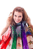 Woman with shoping bags. A woman with shoping bags stock images
