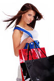 Sexy woman with shopping bag Stock Images