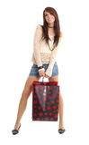 Sexy woman with shopping bag Royalty Free Stock Photography