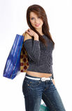 Sexy woman with shopping bag Royalty Free Stock Images