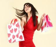 Sexy Woman Shopping With Bags Royalty Free Stock Image