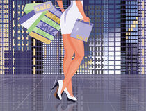 Sexy woman with shopping bags. Vector illustration Stock Images