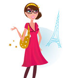 Sexy woman on shopping in Paris city Royalty Free Stock Image