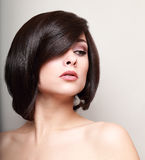 Sexy woman with short black hair. Hair style. Closeup Royalty Free Stock Photo