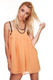 woman in short chiffon dress Royalty Free Stock Images