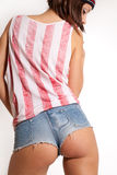 Sexy woman with short jeans and top with usa flag Royalty Free Stock Photo