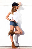 sexy woman in shorts outdoor Royalty Free Stock Photography