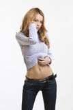 Sexy woman show her bellybutton Stock Photo