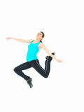 Sexy woman showing fitness moves, white background Royalty Free Stock Photography