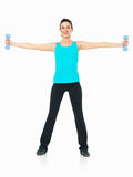 Sexy woman showing fitness moves, white background Stock Photography
