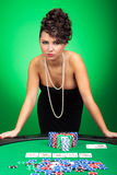 Sexy woman shows poker hand Stock Photos
