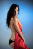 Sexy woman from side with red satin Royalty Free Stock Photo