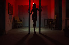 Sexy Woman Silhouette Dancing at the Hotel. Pole Dancer female S. Tripper in the Night. Sensual Red light, noir style. Beautiful Dancing Girl with Sexy Body. Hot Stock Photo