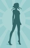 Sexy woman silhouette on sun burst background Royalty Free Stock Image