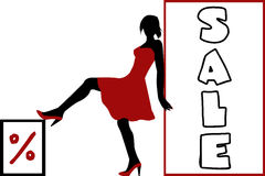 woman silhouette with two banners Royalty Free Stock Photos